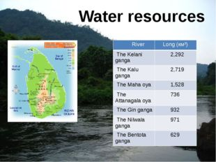 Water resources River Long (км²) TheKelaniganga 2,292 TheKaluganga 2,719 TheM