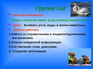 Группа №2 Тема исследования: «Какое значение имеет вода в жизни животных?» Ц