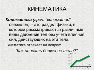 """КИНЕМАТИКА Кинематика (греч. """"кинематос"""" – движение) – это раздел физики, в к"""
