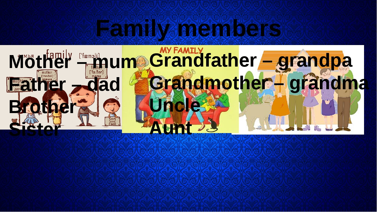 Family members Mother – mum Father – dad Brother Sister Grandfather – grandp...