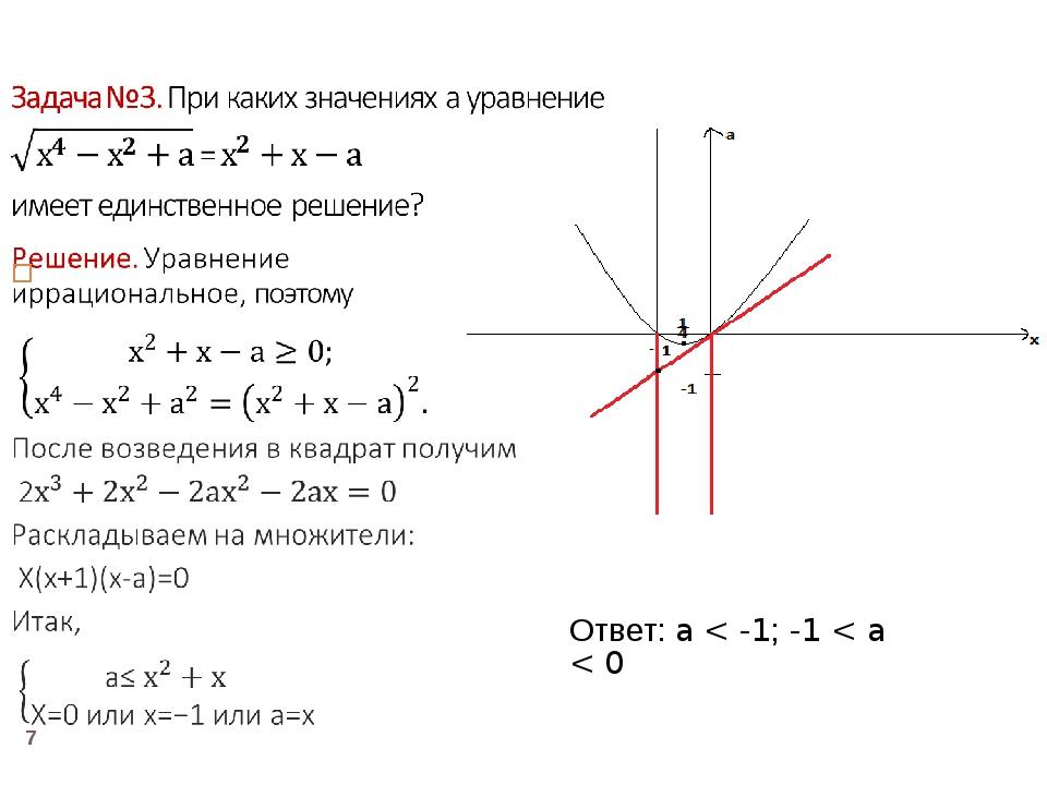 * Ответ: a < -1; -1 < a < 0