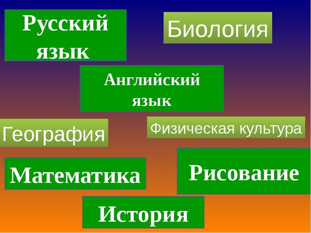 Русский язык Английский язык Рисование История Математика География Биология...