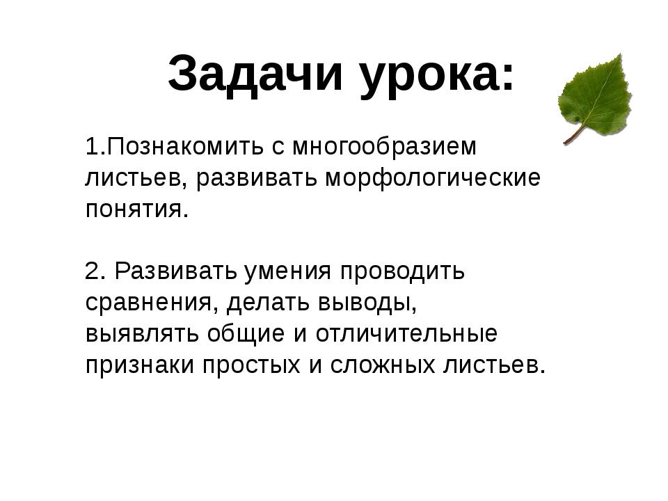 Задачи урока: 1.Познакомить с многообразием листьев, развивать морфологически...