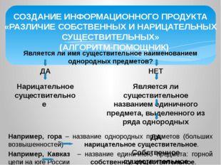 СОЗДАНИЕ ИНФОРМАЦИОННОГО ПРОДУКТА «РАЗЛИЧИЕ СОБСТВЕННЫХ И НАРИЦАТЕЛЬНЫХ СУЩЕС