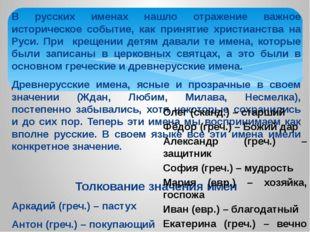 В русских именах нашло отражение важное историческое событие, как принятие хр