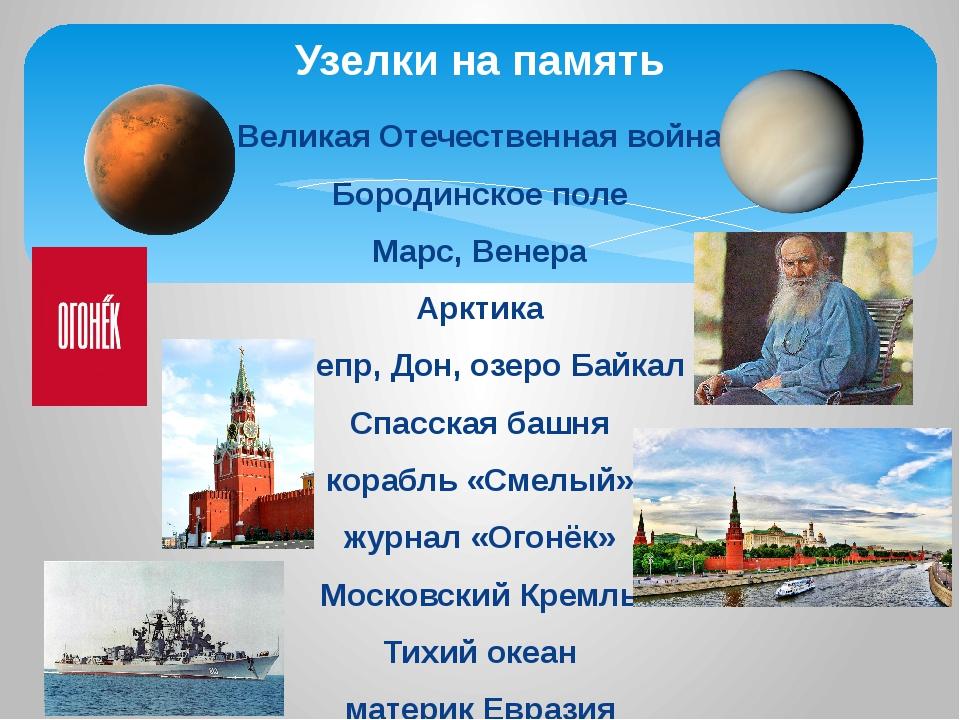 Великая Отечественная война Бородинское поле Марс, Венера Арктика Днепр, Дон,...