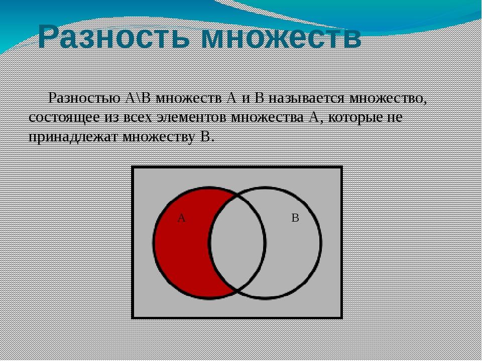Разность множеств Разностью А\В множеств А и В называется множество, состояще...