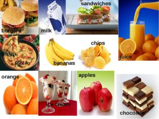 burgers chips sandwiches pizza milk juice orange bananas ice cream chocolate