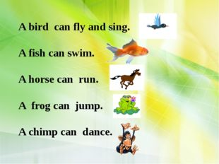 A bird can fly and sing. A fish can swim. A horse can run. A frog can jump.