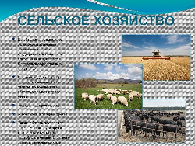 СЕЛЬСКОЕ ХОЗЯЙСТВО По объемам производства сельскохозяйственной продукции обл...