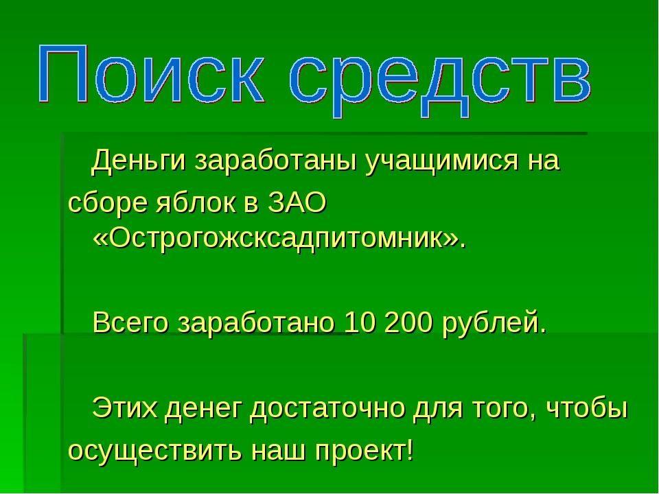 Деньги заработаны учащимися на сборе яблок в ЗАО «Острогожсксадпитомник». Вс...