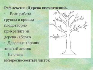 Рефлексия «Дерево впечатлений» Если работа группы и прошла плодотворно прикре