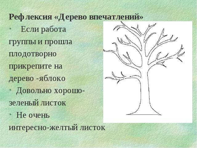 Рефлексия «Дерево впечатлений» Если работа группы и прошла плодотворно прикре...