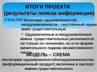 УЗНАЛИ: МОДЕЛЬ – СХЕМА «Категория одушевленности/неодушевленности» (информац