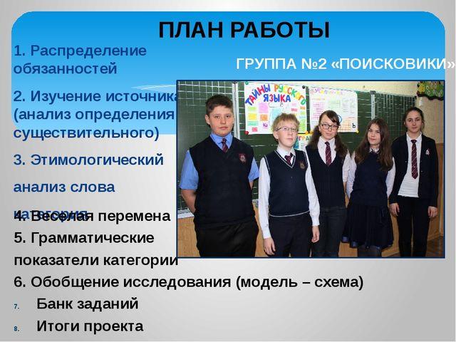 1. Распределение обязанностей 2. Изучение источника (анализ определения сущес...