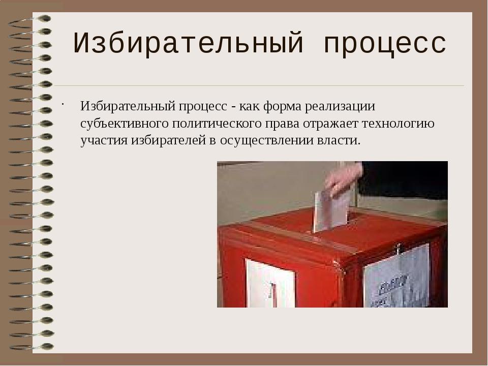 Избирательный процесс - как форма реализации субъективного политического пра...