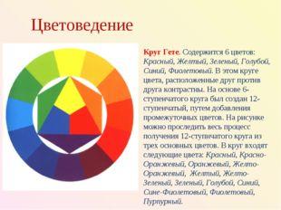 Цветоведение Круг Гете. Содержится 6 цветов: Красный, Желтый, Зеленый, Голубо