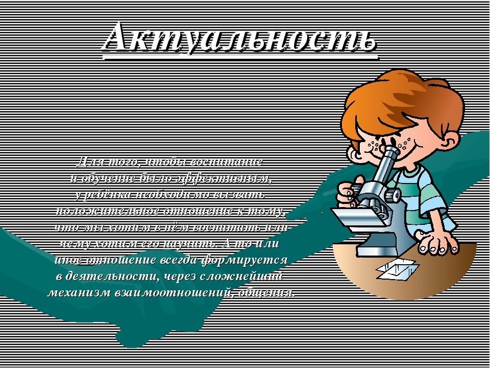 Актуальность Для того, чтобы воспитание и обучение было эффективным, у ребён...
