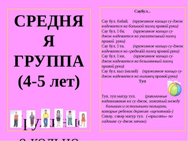 СРЕДНЯЯ ГРУППА (4-5 лет) Пружинное кольцо су-джок надевается на пальчики и пр...