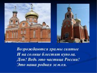 Возрождаются храмы святые И на солнце блестят купола. Дон! Ведь это частица