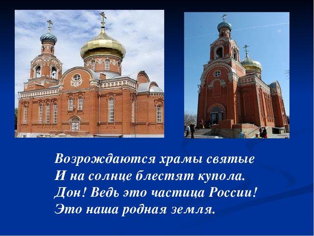 Возрождаются храмы святые И на солнце блестят купола. Дон! Ведь это частица...