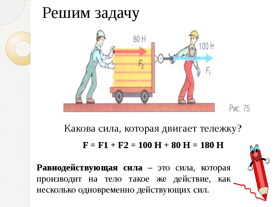Какова сила, которая двигает тележку? Решим задачу F = F1 + F2 = 100 Н + 80 Н...
