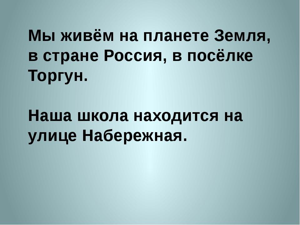 Мы живём на планете Земля, в стране Россия, в посёлке Торгун. Наша школа нахо...