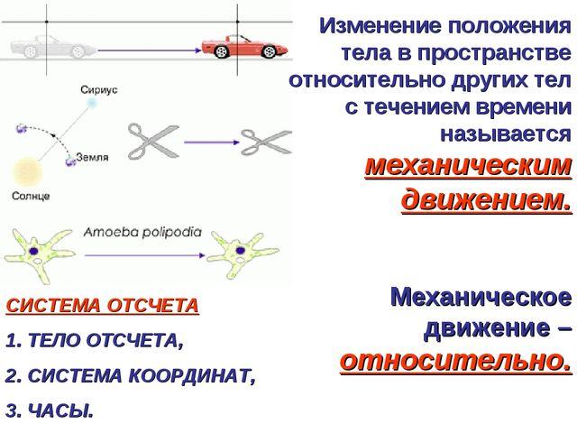 Изменение положения тела в пространстве относительно других тел с течением вр...
