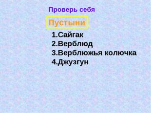 Проверь себя Пустыни Сайгак Верблюд Верблюжья колючка Джузгун