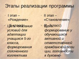 Этапы реализации программы I этап – «Рождение» (5 класс) Цель: создание услов