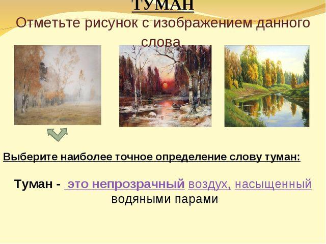 ТУМАН Отметьте рисунок с изображением данного слова. Выберите наиболее точное...