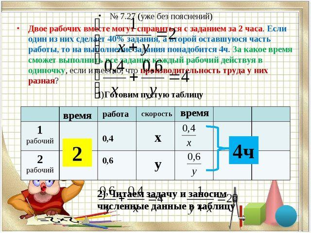 № 7.27 (уже без пояснений) Двое рабочих вместе могут справиться с заданием за...