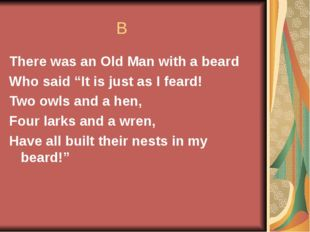 """B There was an Old Man with a beard Who said """"It is just as I feard! Two owl"""
