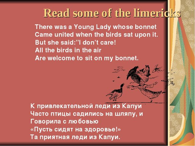 Read some of the limericks There was a Young Lady whose bonnet Came united wh...