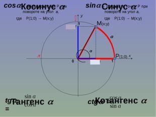 sin cos  x y 1 0 1 sin – ордината точки Р при   повороте на угол а,