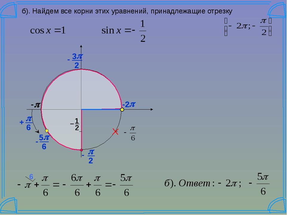 б). Найдем все корни этих уравнений, принадлежащие отрезку -p p -2 2 p 3 - 6...