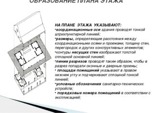 ОБРАЗОВАНИЕ ПЛАНА ЭТАЖА НА ПЛАНЕ ЭТАЖА УКАЗЫВАЮТ: координационные оси здания