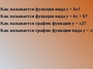 2. Как называется функция вида y = kx? 3. Как называется функция вида y = kx