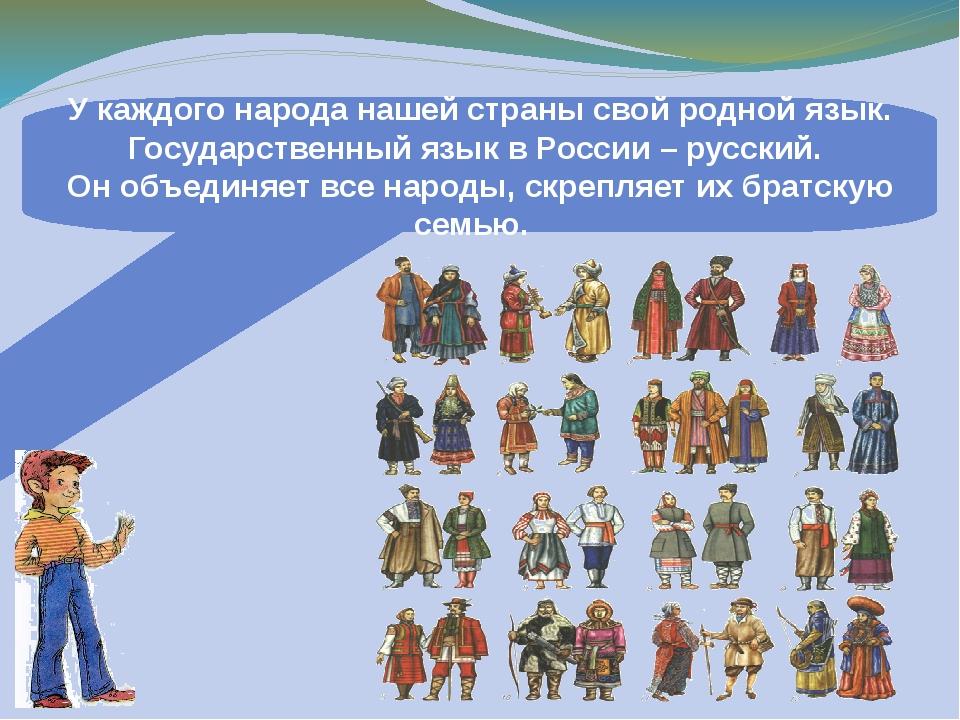 У каждого народа нашей страны свой родной язык. Государственный язык в России...