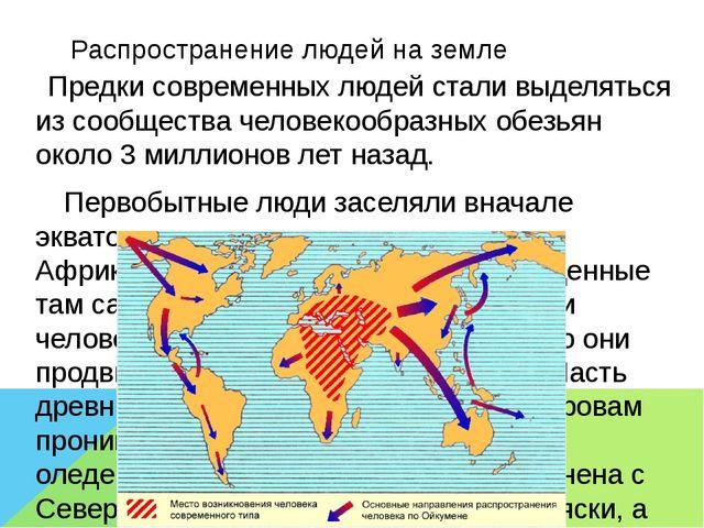 Распространение людей на земле Предки современных людей стали выделяться из с...