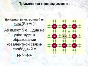 Примесная проводимость Донорная (электронная) n-типа (Si+As) As имеет 5 е. Од