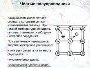 Чистые полупроводники Каждый атом имеет четыре соседа, с которыми связан кова