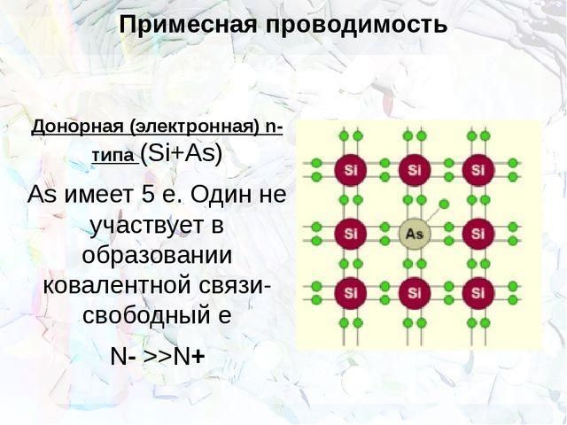 Примесная проводимость Донорная (электронная) n-типа (Si+As) As имеет 5 е. Од...