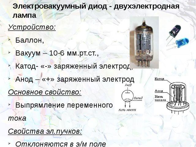 Электровакуумный диод - двухэлектродная лампа Устройство: Баллон, Вакуум – 10...
