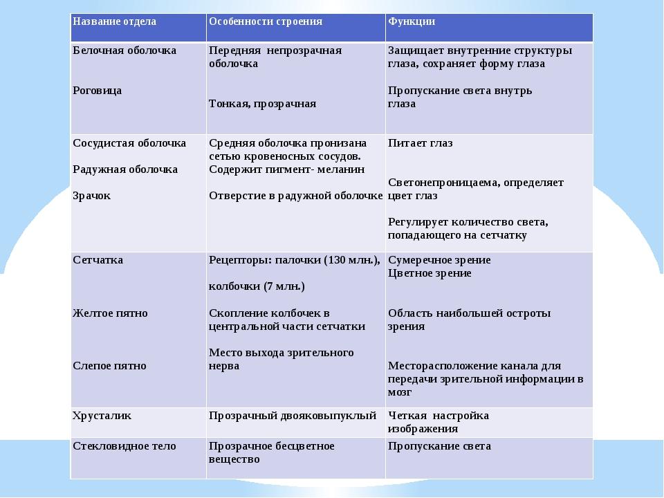 Название отдела Особенности строения Функции Белочная оболочка   Роговица П...