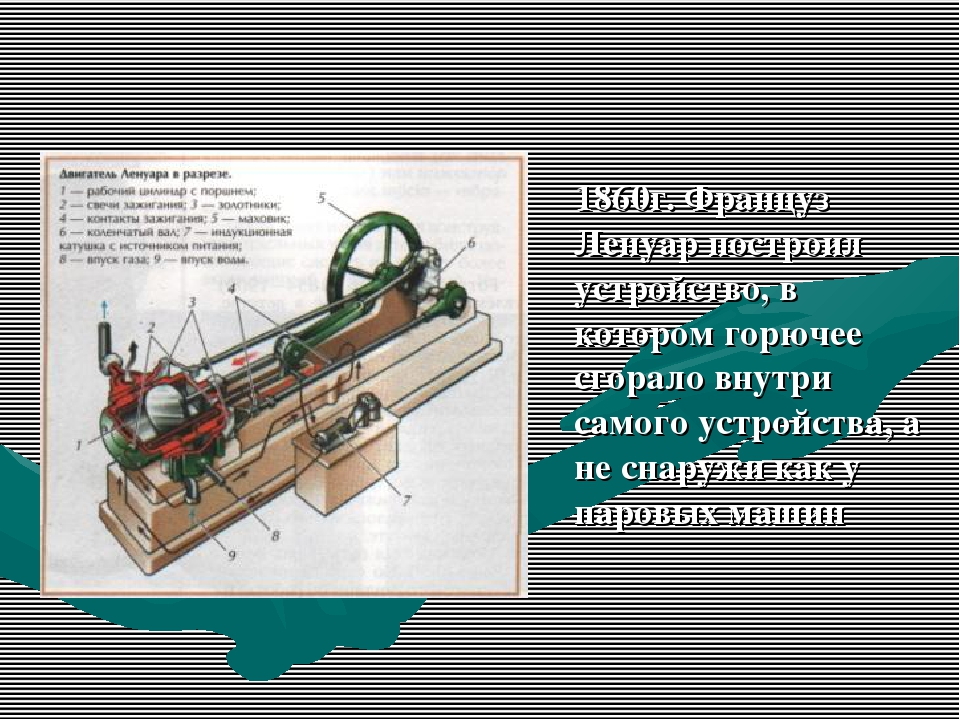 1860г. Француз Ленуар построил устройство, в котором горючее сгорало внутри...