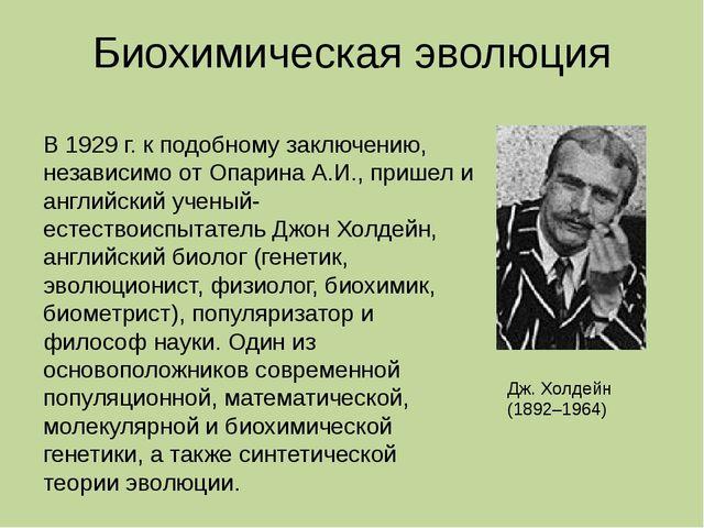 Биохимическая эволюция Дж. Холдейн (1892–1964) В 1929 г. к подобному заключен...