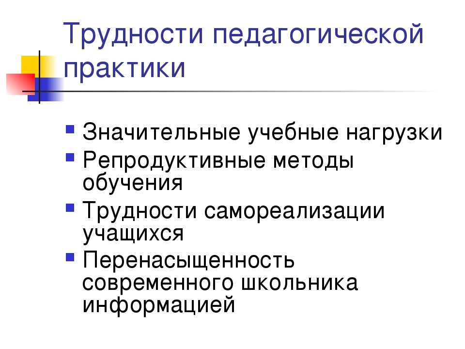Трудности педагогической практики Значительные учебные нагрузки Репродуктивны...