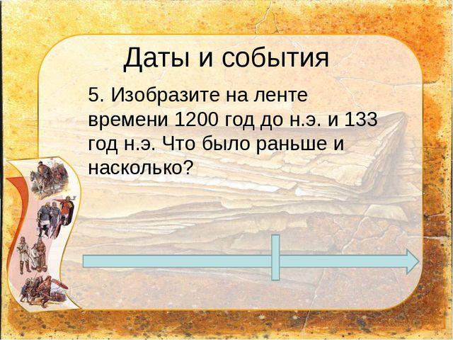 Даты и события 5. Изобразите на ленте времени 1200 год до н.э. и 133 год н.э...