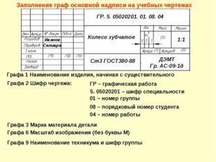 Заполнение граф основной надписи на учебных чертежах Графа 1 Наименование изд